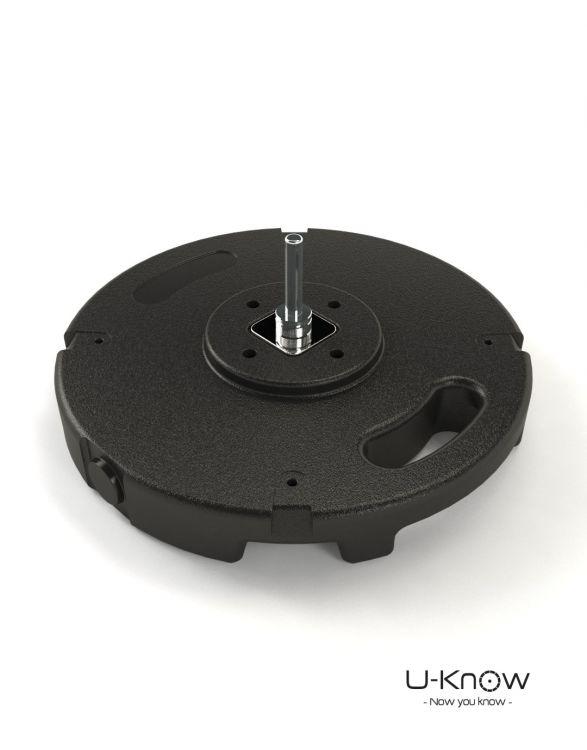 MATP27 NOIR Mono  Socle PVC béton 10 Kg avec axe de rotat°